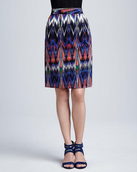 Abstract Ikat Pencil Skirt