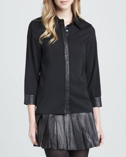Alice + Olivia Cathi Leather/Combo Top