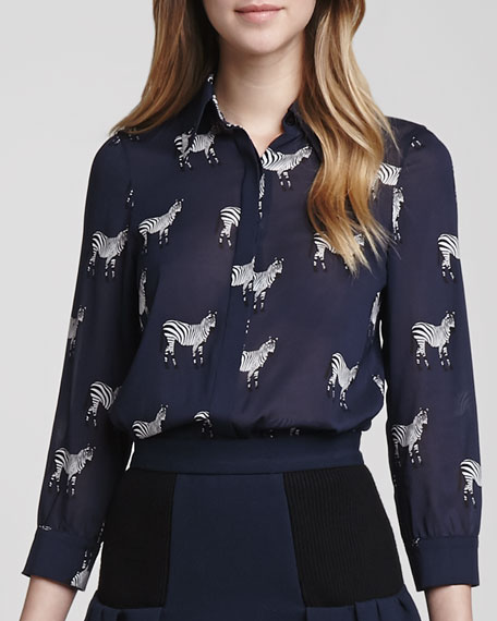 Willa Zebra-Print Blouse