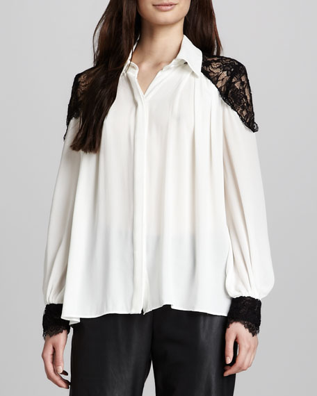 Bahmi Lace-Shoulder Blouse