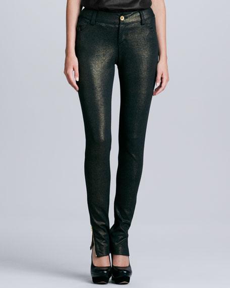 Long Ankle-Zip Denim Skinny Pants