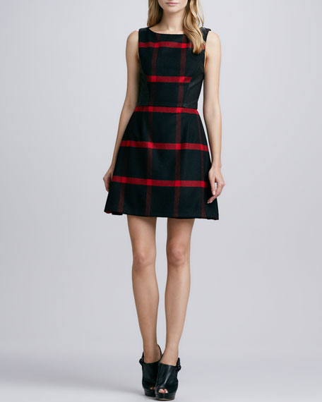 Jolie Leather-Panel Plaid Dress