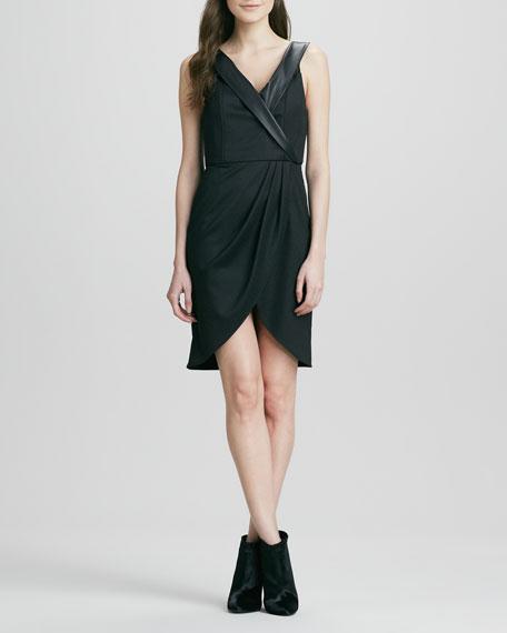 Shyna Leather-Collar Dress