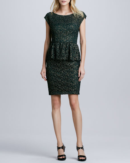 Shovan Open-Back Lace Peplum Dress