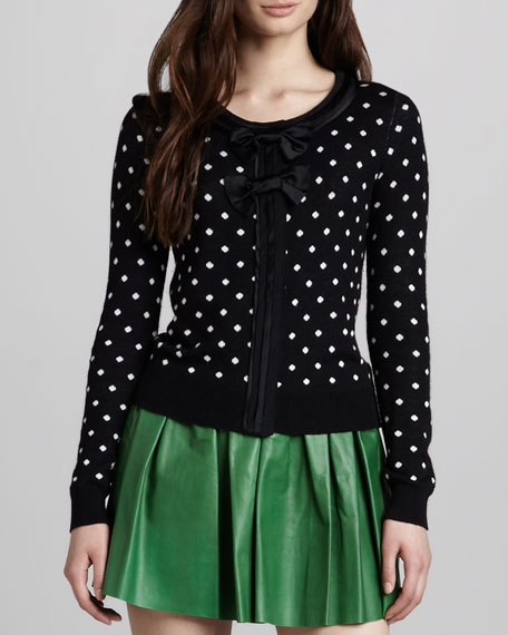 Lewin Polka-Dot Double-Bow Cardigan