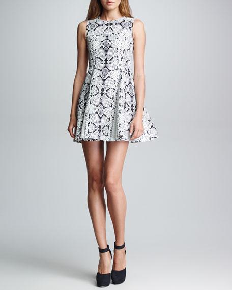 Trapeze Girl Snake-Print Dress