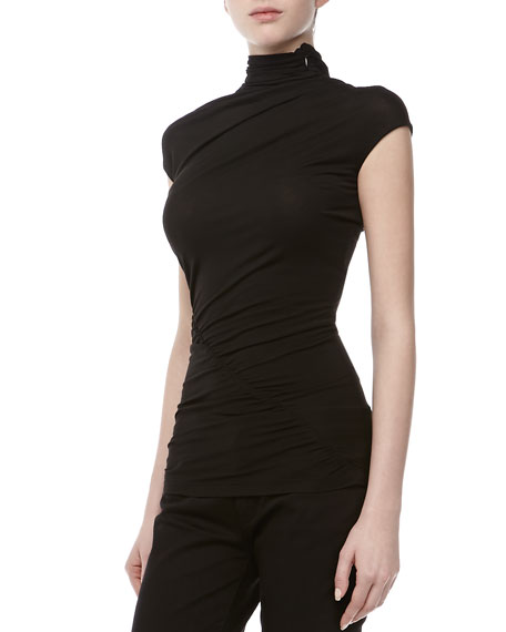 Jersey Cap-Sleeve Turtleneck