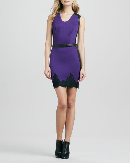 Belted Two-Tone Lace-Trim Dress