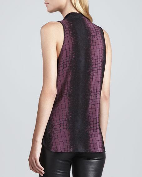 Croc-Print Silk Scarf-Detail Top