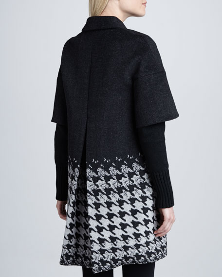 Blake Houndstooth Half-Sleeve Coat