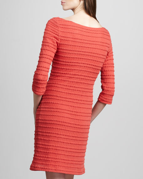 Three-Quarter-Sleeve Tiered Dress