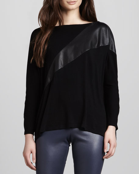 Slouchy Leather-Panel Pullover