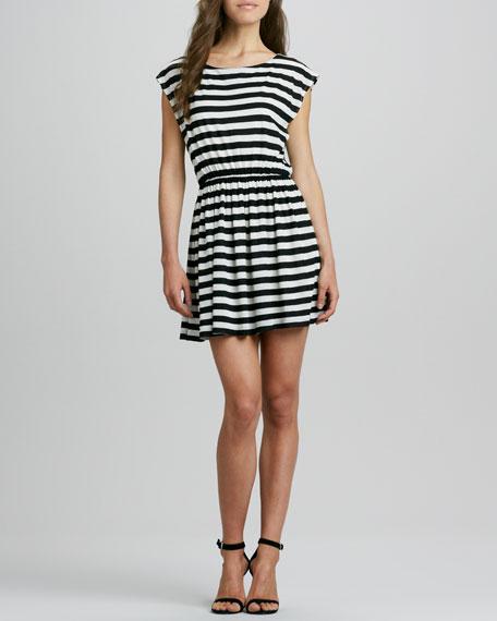 Matilda Striped Cap-Sleeve Dress