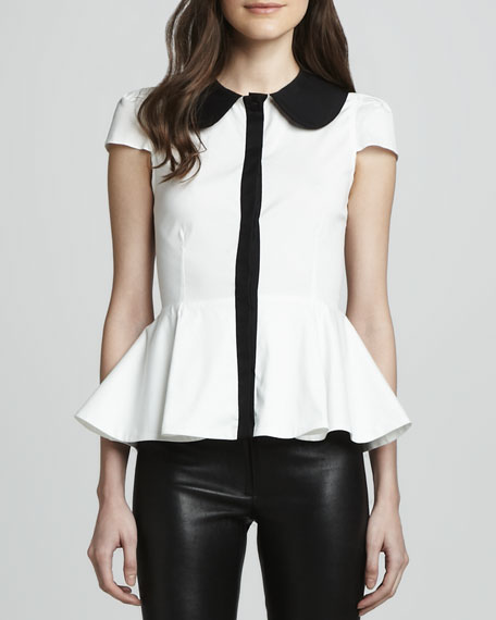 Clementine Contrast Peplum Blouse