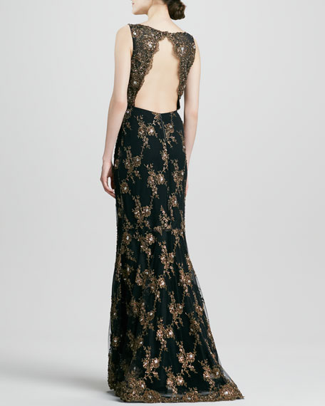 Katrina Scallop-Back Beaded Gown