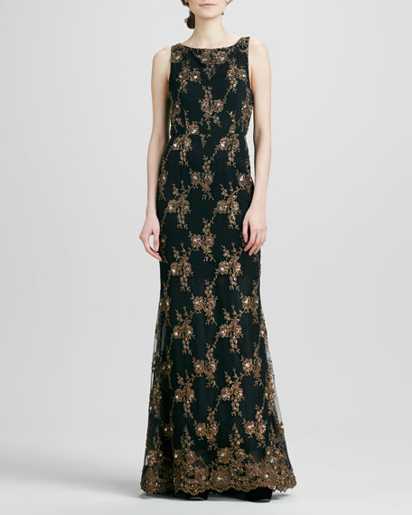 Alice + Olivia Katrina Scallop-Back Beaded Gown