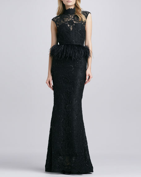 Jessica Beaded Feather-Peplum Gown