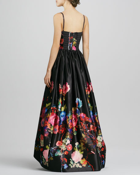 Addie Floral-Print High-Low Gown