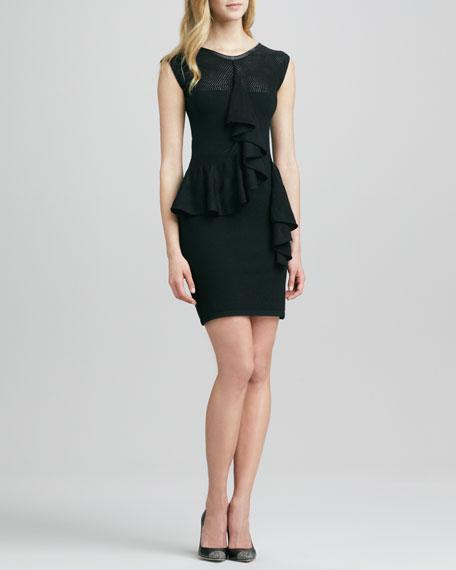 Leather-Top Ruffled Peplum Dress