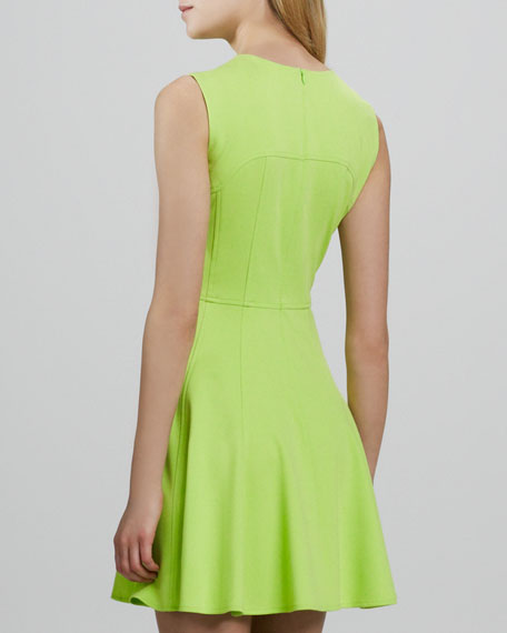 Super Slide Fit-and-Flare Dress, Lime