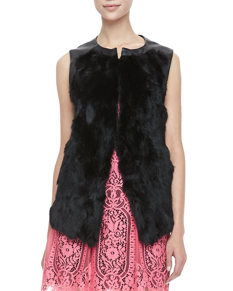 Illusion Leather-Trim Fur Vest