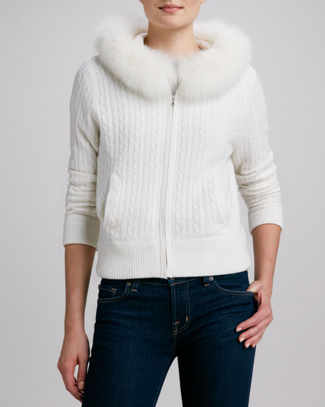 Cashmere Cable-Knit Fur Hoodie