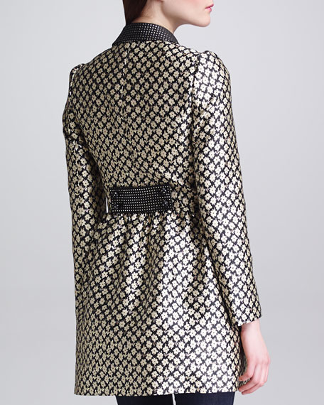 Floral Brocade Coat, Black/Cream