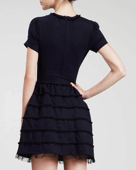 Lace-Trim Full-Skirt Dress, Navy/Black