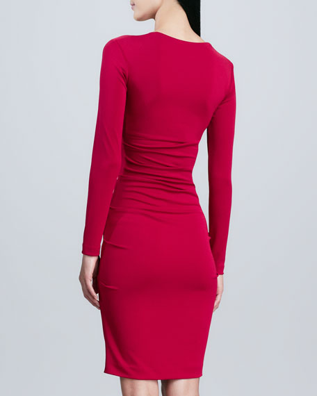 Long-Sleeve Square-Neck Sheath Dress