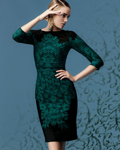 Lace-Print 3/4-Sleeve Jersey Dress