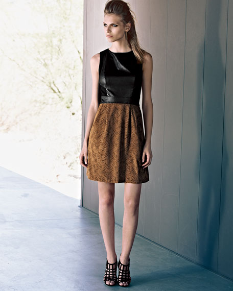 Sleeveless Dress with Faux-Leather Bodice