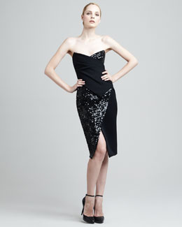 Donna Karan Sequined Bustier Dress
