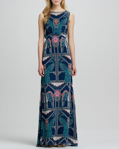 Elephant/Peacock Printed Gown