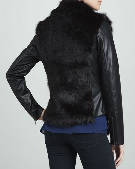 Faux-Leather & Faux-Shearling Moto Jacket