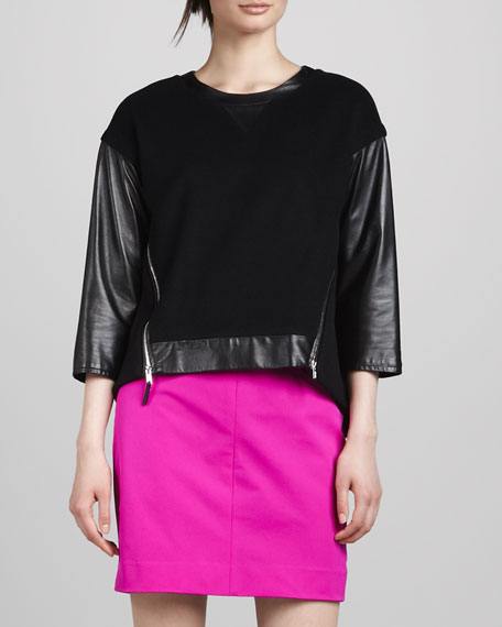 Nora Leather-Sleeve Pullover