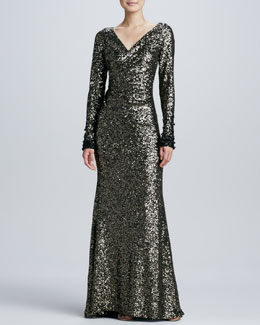 Badgley Mischka Sequined Long-Sleeve Ruched Gown