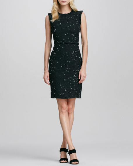 Tweed Raw-Edge Sheath Dress