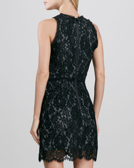 Claudia Ruffle-Trim Lace Dress