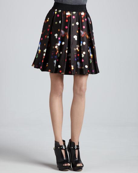Printed Inverted-Pleat Skirt