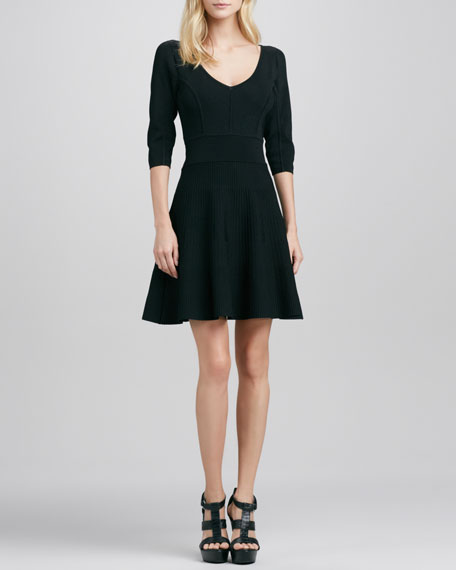 V-Neck Stretch Flare Dress