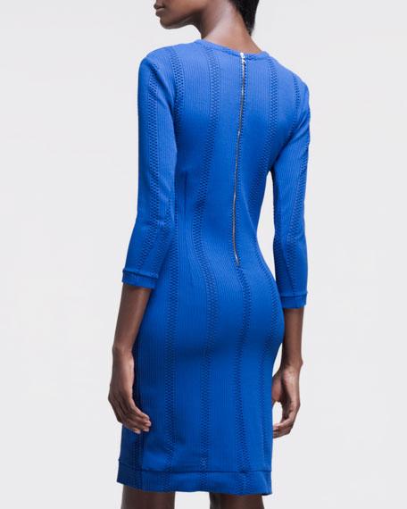 Elsa Perforated-Stripe Dress