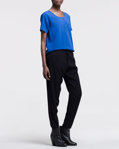 Relaxed Tapered Drawstring Trousers, Black