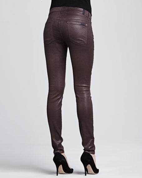 High-Shine Gummy Skinny Jeans