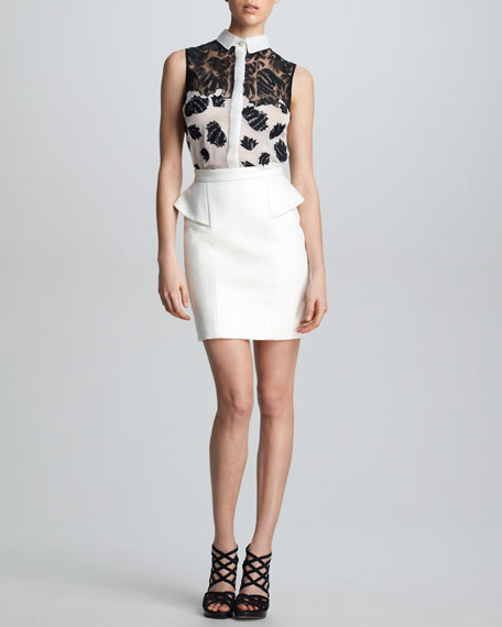 Leather Peplum Skirt, White