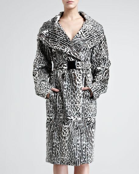 Ocelot-Print Goatskin Trench Coat