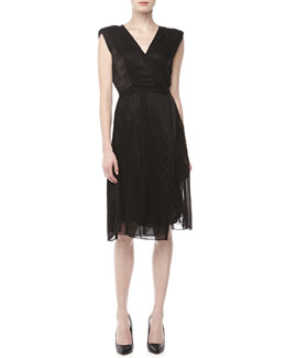 Donna Karan Sleeveless Layered Dress, Black