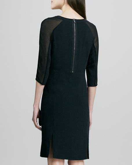 Anne Sheer-Sleeve Dress