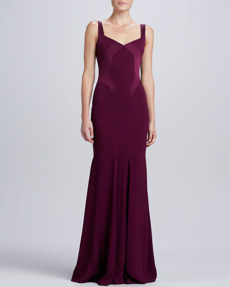 Sweetheart Satin-Panel Gown