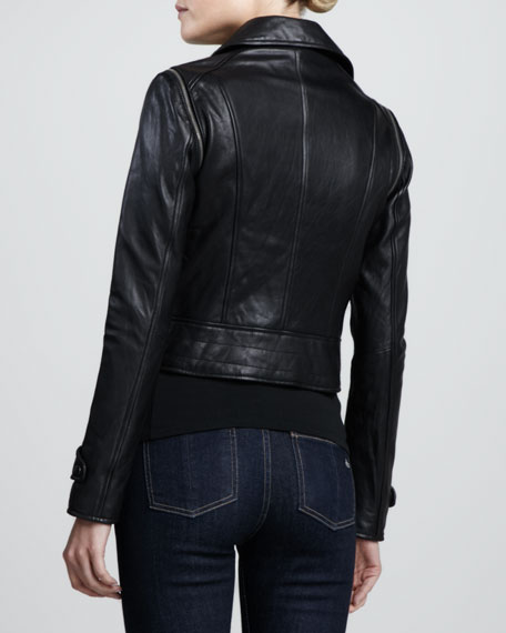 Zip-Off Sleeves Leather Moto Jacket, Black
