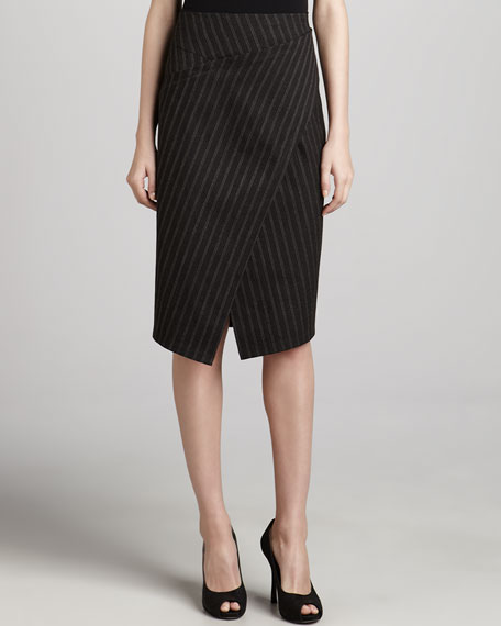 Striped Asymmetric Scissor Skirt, Clove